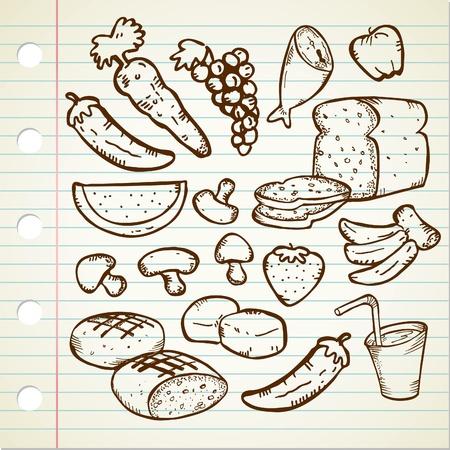 egészséges étel doodle Illusztráció