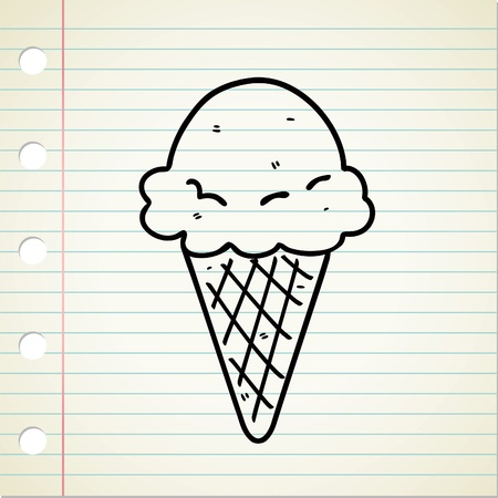 ice cream soft: ice cream doodle Illustration