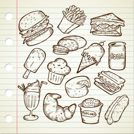 comida chatarra: dibujo de alimentos chatarra