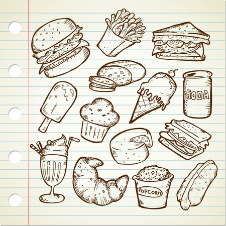 cheese burger: malbouffe doodle Illustration
