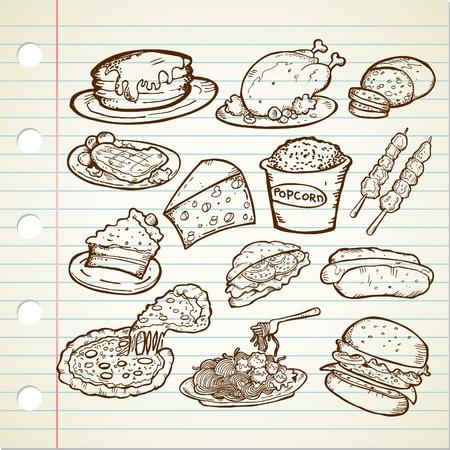 junk food doodle Vector