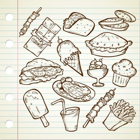 unhealthy: dibujo de alimentos chatarra