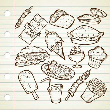 unhealthy eating: junk food Doodle