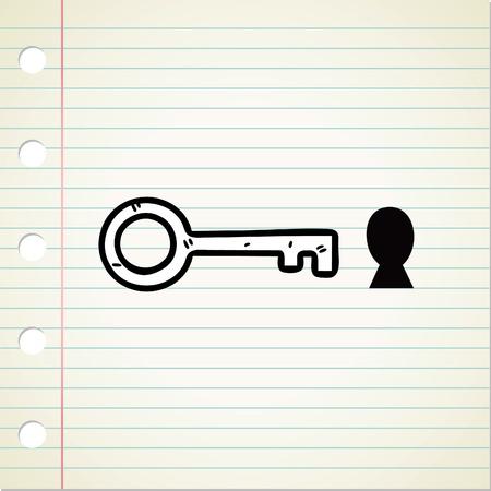 key hole: key and hole doodle Illustration
