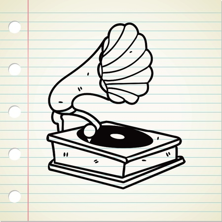 quirky: old gramophone doodle