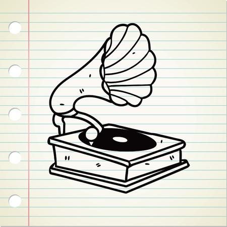 gramophone: old gramophone doodle
