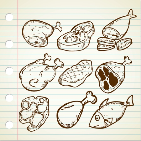 fish steak: set of meat doodle