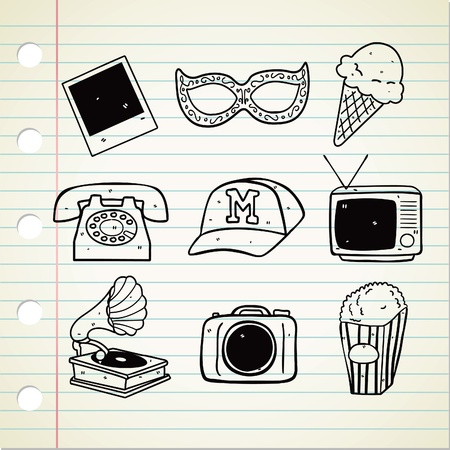stuff: set of vintage stuff doodle Illustration