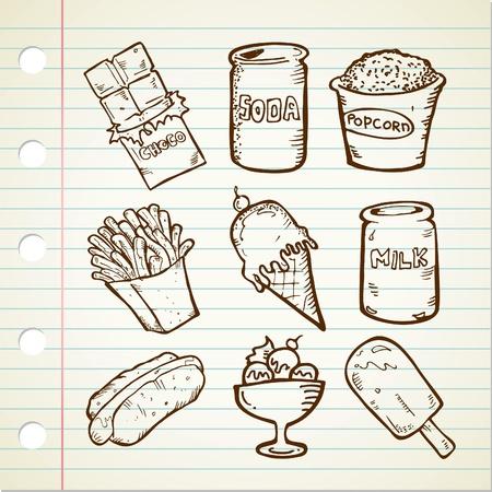 unhealthy: merienda dibujo Vectores