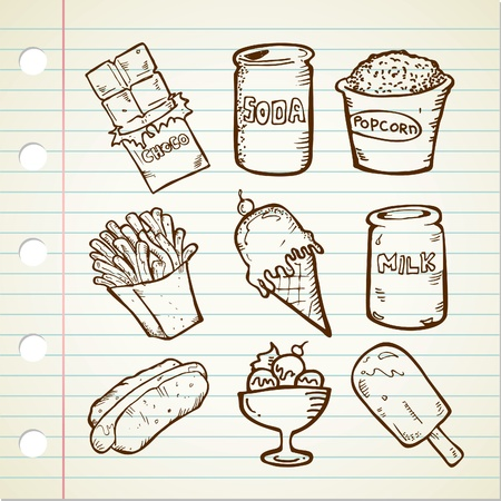 unhealthy snack: snack doodle Illustration