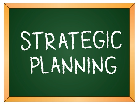 strategic planning word on chalkboard Vector