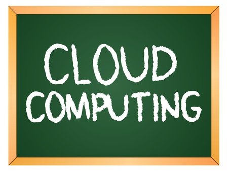 cloud computing word written on chalk board Vector