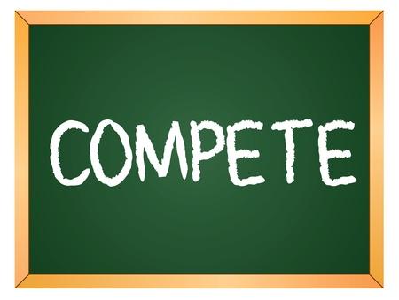 compete word written on chalk board