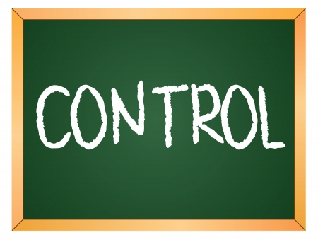 controlling: control word written on chalk board Illustration