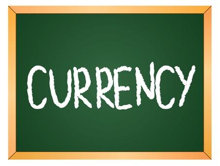 currency word written on chalk board Stock Vector - 13165353