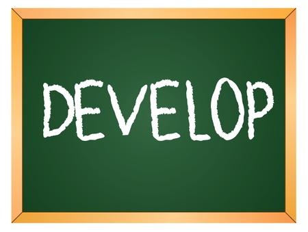 keywords advertise: develop word written on chalk board Illustration