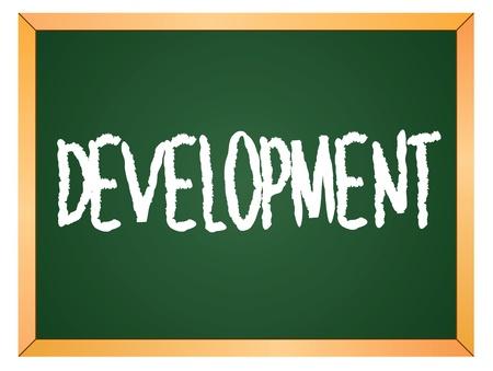 keywords advertise: development word written on chalk board