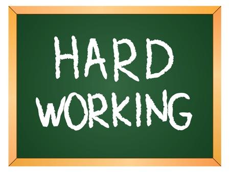 hard working word written on chalk board Stock Vector - 13165370