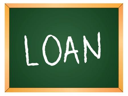 loan word written on chalk board Stock Vector - 13165319