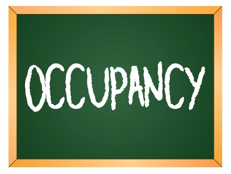 occupancy: occupancy written on chalk board Illustration