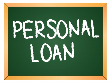 personal finance: personal loan written on chalk board Illustration