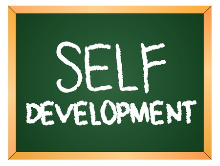 self development:  self development  word written on chalkboard  Illustration