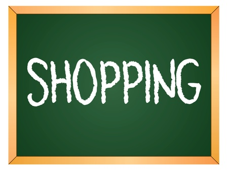shopping word written on chalk coard Stock Vector - 13165346