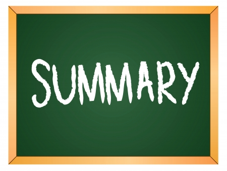 summary word written on chalk coard Vector