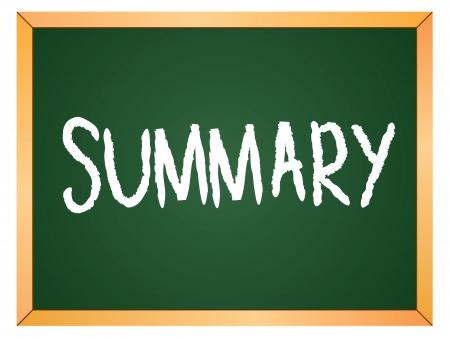 summary word written on chalk coard