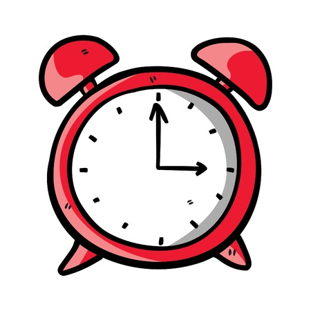 ringing: red clock doodle Illustration