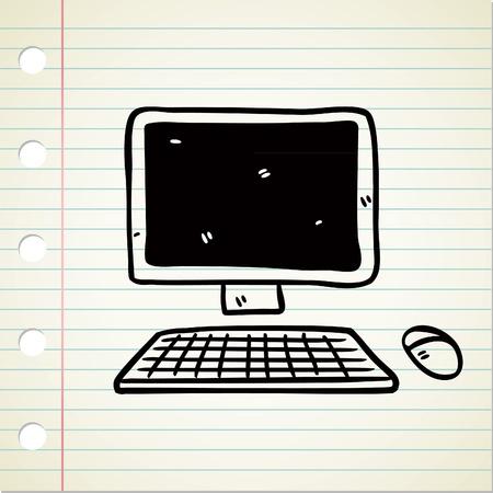 computer doodle Vector