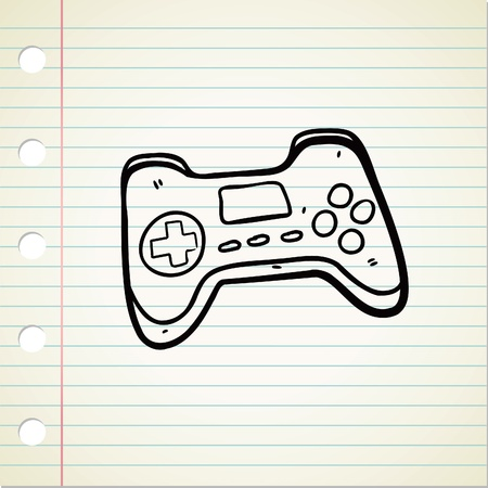 game pad: game pad doodle Illustration