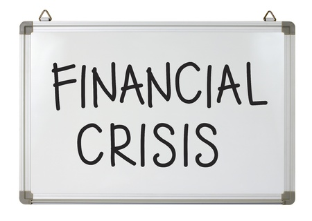 financiele crisis: financiële crisis woord geschreven op whiteboard Stockfoto