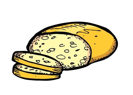 comiendo pan: pan en el estilo dibujo Vectores