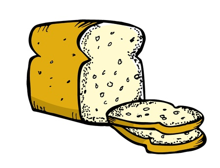 food clipart: bread in doodle style