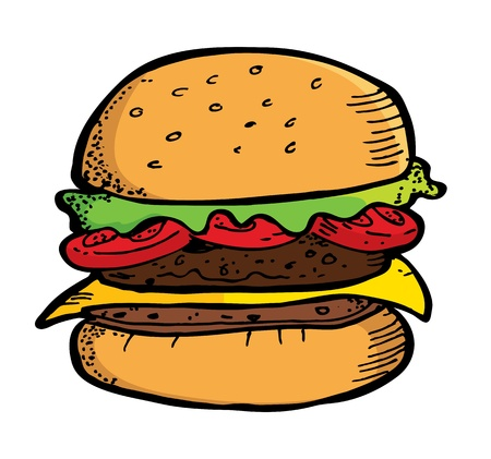 vegetable fat: burger in doodle style Illustration