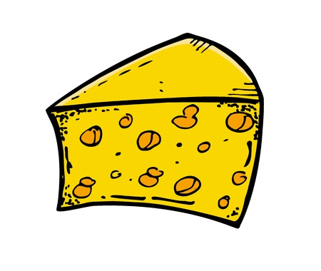 quick drawing: cheese in doodle style