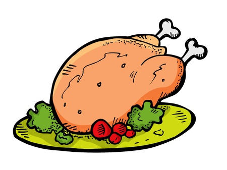 kip in doodle stijl Stock Illustratie