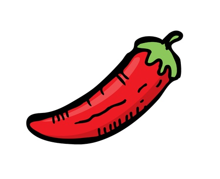 black pepper: chilli in doodle style