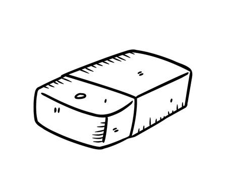 pencil eraser: eraser in doodle style Illustration
