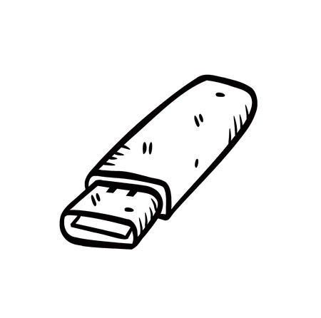flash disk in doodle style Vector