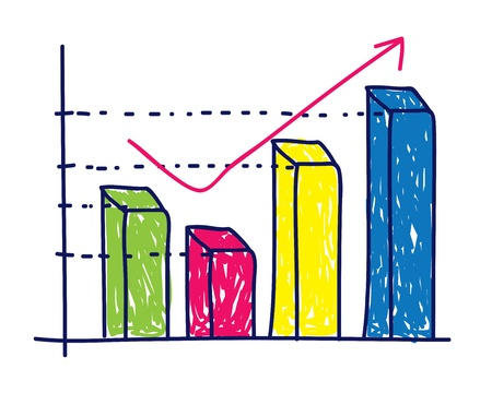 profit graphic chart in doodle style Vector Illustration