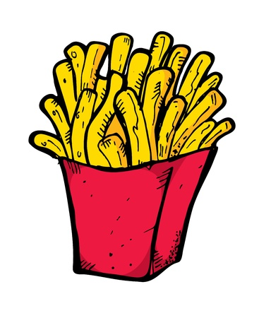 french food: french fries hand drawn