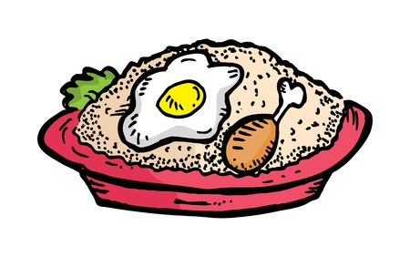 fried: fried rice hand drawn Illustration