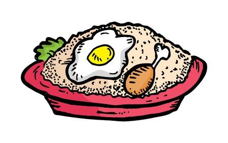 huevos fritos: Por el arroz frito elaborado