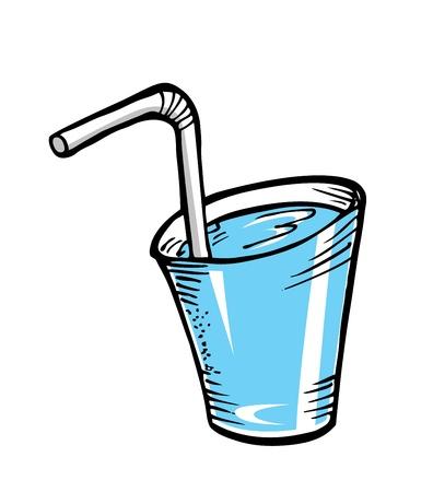bebidas frias: vaso de agua con paja en el estilo de dibujo