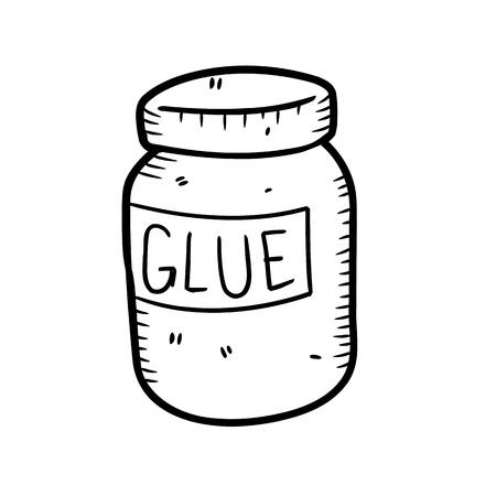 Klebstoff-Flasche in Doodle-Stil