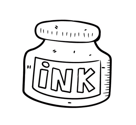 ink bottle: boccetta d'inchiostro in stile Doodle
