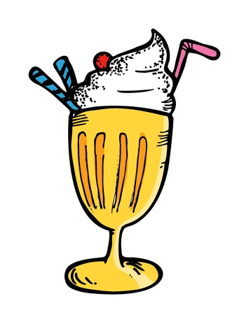 ice cream with float in doodle style Vector