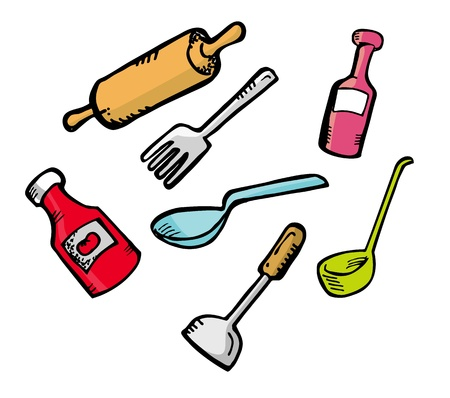 kitchen ware: cooking ware in doodle style Illustration